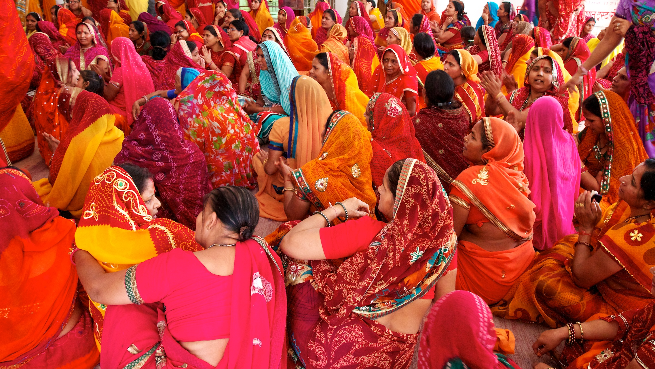Hindu ladies at a reading of Bhagavad Gita