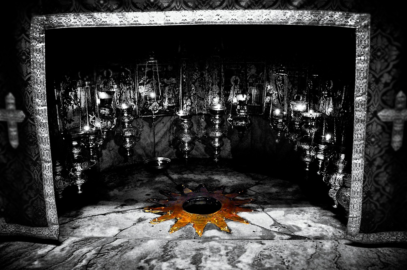 Exact spot in the Church of the Nativity where Jesus is believed to have been born.