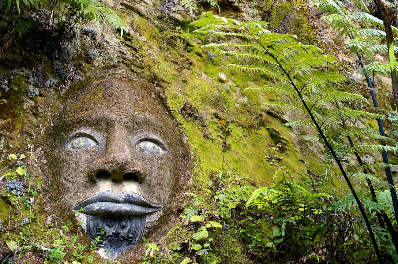 Face carved into a rock face in the hills around the incredible Lochmara Lodge in Marlborough Sound