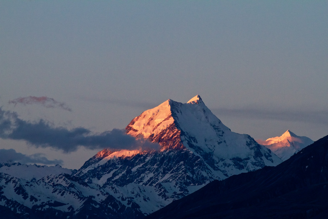 The summit of Aoraki/Mount Cook at sunset