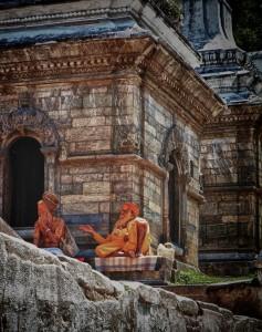 Holy men at Pashupatinath Temple (Kathmandu, Nepal)