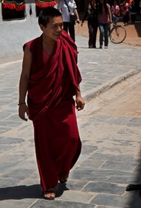 Junior monk at the Boudhanath Stupa (Kathmandu, Nepal)