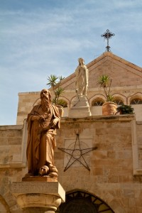 Statues of St. John the Baptist, the Virgin Mary and the cross at the Church of the Nativity (Bethlehem, Israel)