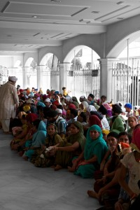 The kitchens of the Gurudwara Bangla Sahib temple serve about 10,000 meals a day (New Delhi, India)