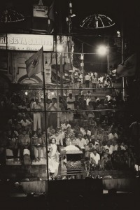 Holy men perform the evening ceremony to say goodnight to the Ganges (Varanasi, India)