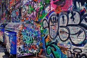 Street art or graffiti on Rutledge Street in Melbourne, Australia