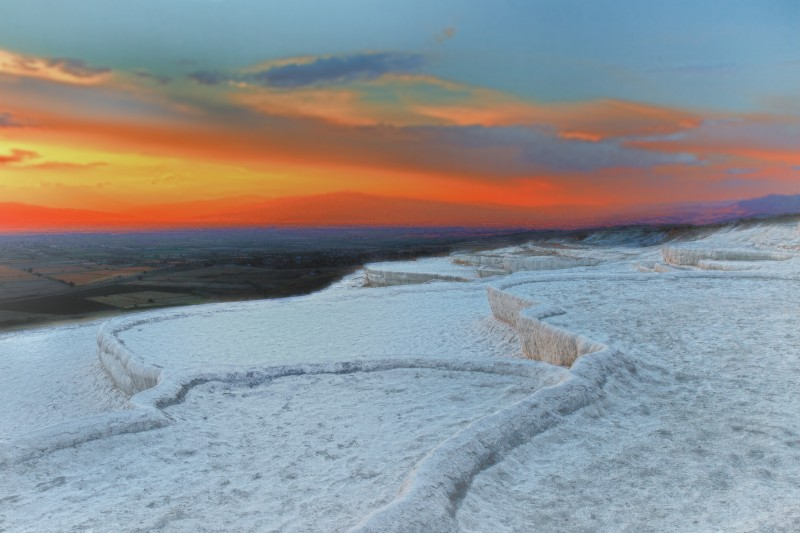 The white cliffs of the travertine terraces at Pamukkale, Turkey