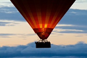 Balloon over the Serengeti during an early morning flight