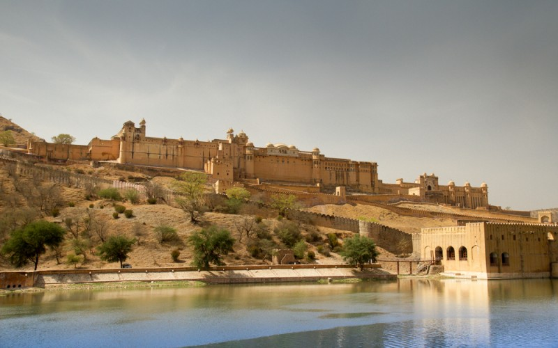 Front of the Amer Fort in Jaipur, India. Built by Raja Man Singh I in 1592, it is known for its artistic style of both Hindu and Rajput elements. Some suggest that the fort location on a hill and feel were an inspiration for George Lucas when designing Jabba The Hutts palace in Return of the Jedi.